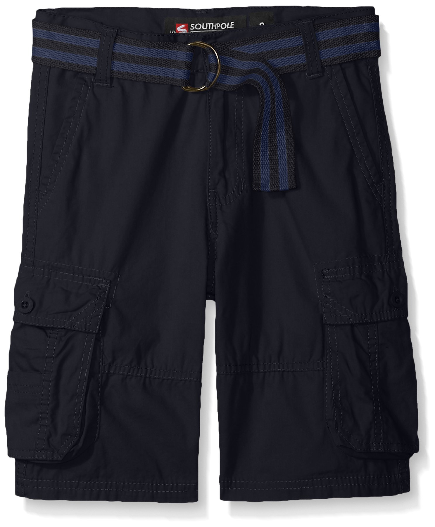 Southpole Boys' Big Belted Mini Canvas Cargo Shorts in, New Navy, 8