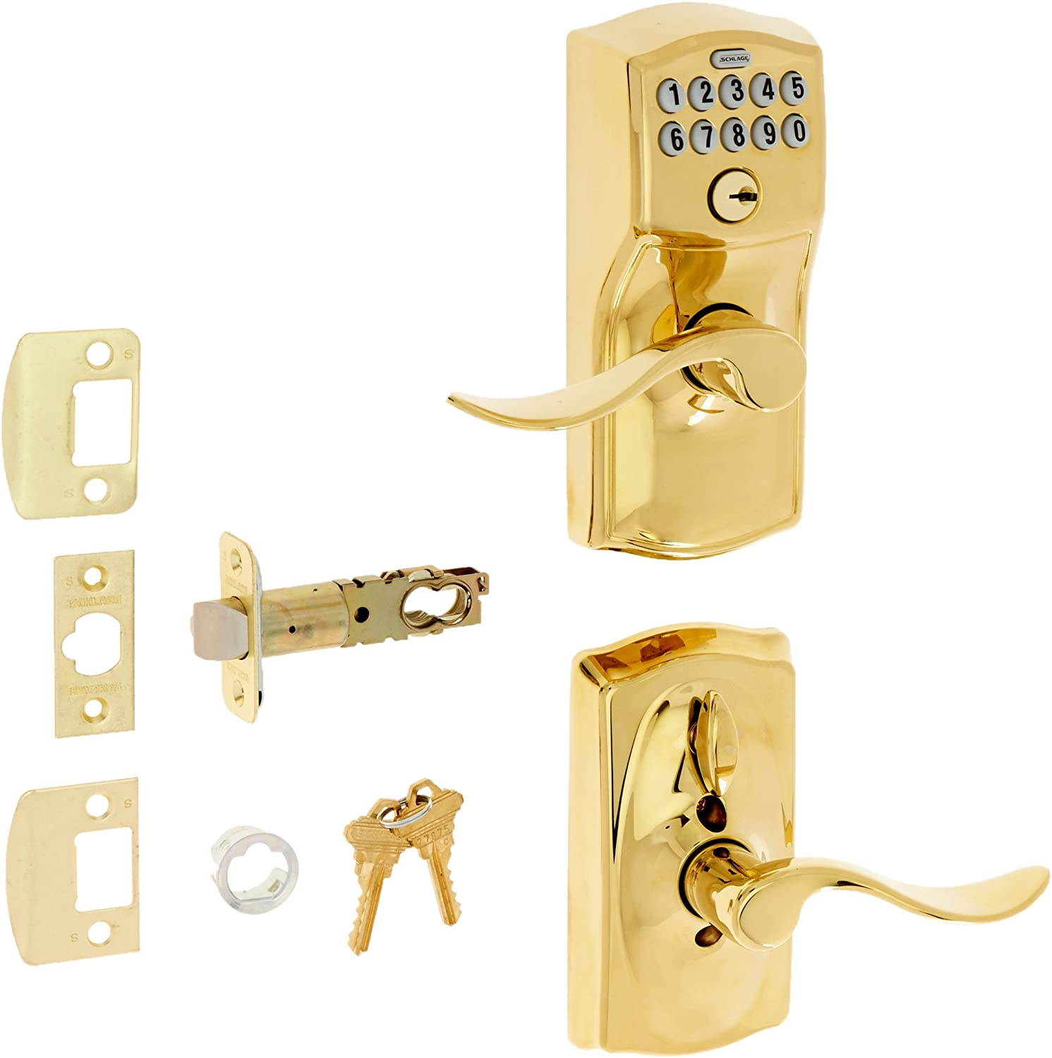 Schlage FE595 CAM 505 16-234 10-027 Camelot by Accent Keypad Lever with Flex Lock, Bright Brass