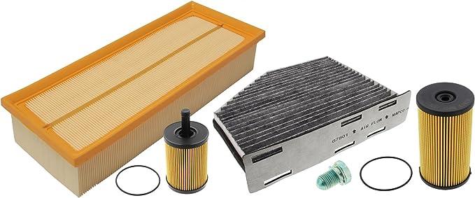 Mapco 68907 Inspektionspaket Ölfilter Luftfilter Innenraumfilter Kraftstofffilter Ölablaßschraube Auto