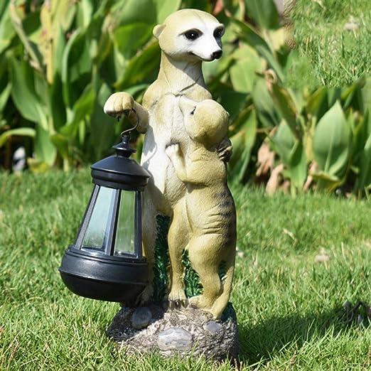 HLCUI Animales Mangosta Jardín Decoración Arte Estatua Adorno Solar Idea De Regalo para Su Jardín, Prado, Terraza O Patio: Amazon.es: Jardín