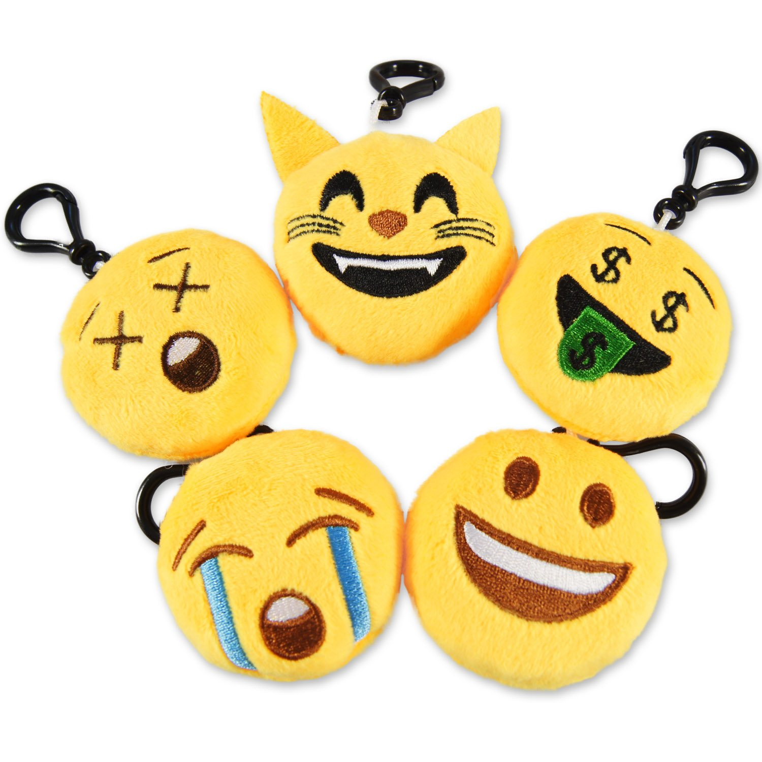 Ivenf Pack of 50 5cm/2'' Emoji Poop Plush Keychain Birthday Party Favors Supplies Mini Pillows Set, Emoticon Backpack Clips, Goodie Bag Stuffers Pinata Fillers Novelty Gifts Toys Prizes for Kids by Ivenf (Image #2)