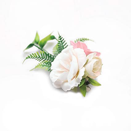 Ivory Flower Hair Clip Blush Colored Floral Hair Clips for Bridesmaids Flower Crown for Bride Peony Floral Clips Pink Bridal Hair Clip