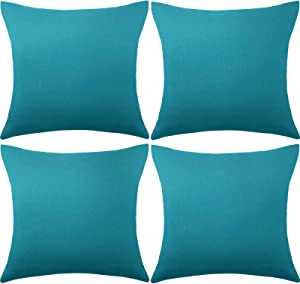 4 Packs Decorative Outdoor Patio Balcony Waterproof Throw Pillow Covers, Square Garden Cushion Case, PU Coating Pillow Shell for Couch, Bed, Patio, Sofa, Tent and Balcony, 18 x 18 Inches (Blue-Green)
