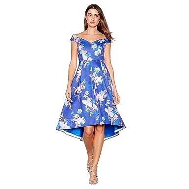 Debut Bright Blue Floral Print Scuba V-Neck Short Sleeve High Low Prom Dress 8