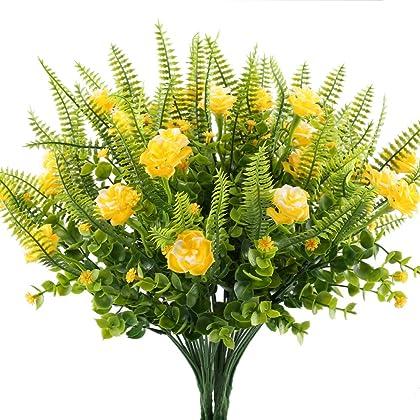 Amazon cambodia shopping on amazon ship to cambodia ship overseas plastic flowers plants hogado artificial fern bush artificial greenery with fake yellow flowers arrangements vase realistic mightylinksfo