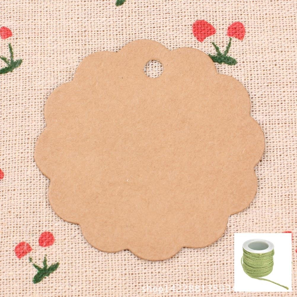 Lwestine 300PCS Round Flower Kraft Paper Gift Tags Wedding Party Favours, With 33 Feet Natural Jute Twine