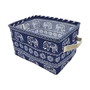 Mziart Cotton Linen Small Foldable Storage Basket with Handle, Multifunctional Sundry Cosmetic Storage Organizer Box for Home Closet Toys Office Desktop (Elephant)