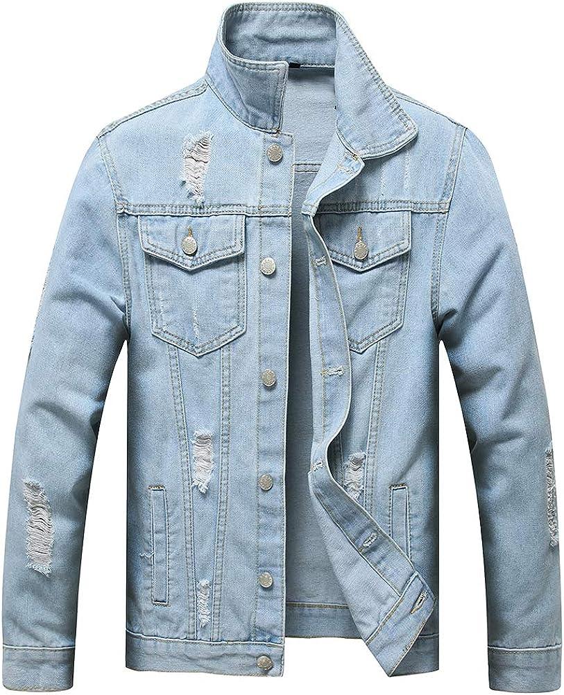 Max 63% OFF LONGBIDA Men's Slim Fit Ripped Distressed Top Recommendation Jacket Coat Denim