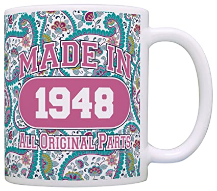 70th Birthday Gift Made 1948 Paisley Mug Decorations Coffee Tea Cup