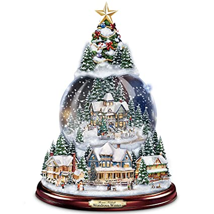Christmas Snowglobes.Thomas Kinkade Wondrous Winter Musical Tabletop Christmas Tree With Snowglobe Lights Up By The Bradford Exchange