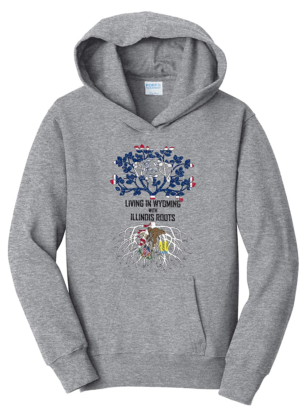 Tenacitee Girls Living in Wyoming with Illinois Roots Hooded Sweatshirt