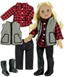 Winter Doll Outfit with Boots by Sophia's Includes Red Chequered Shirt, Pants, Vest & Tall Boots for 46cm Dolls