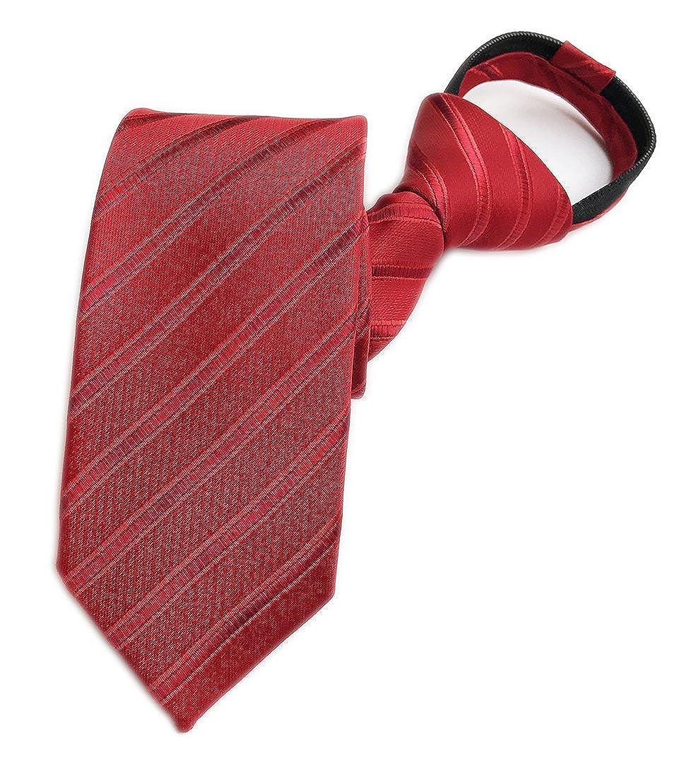 Elfeves Mens Zipper Tie Business Wedding Solid Checks Striped Microfiber Necktie Aug17A2017-8-12-64