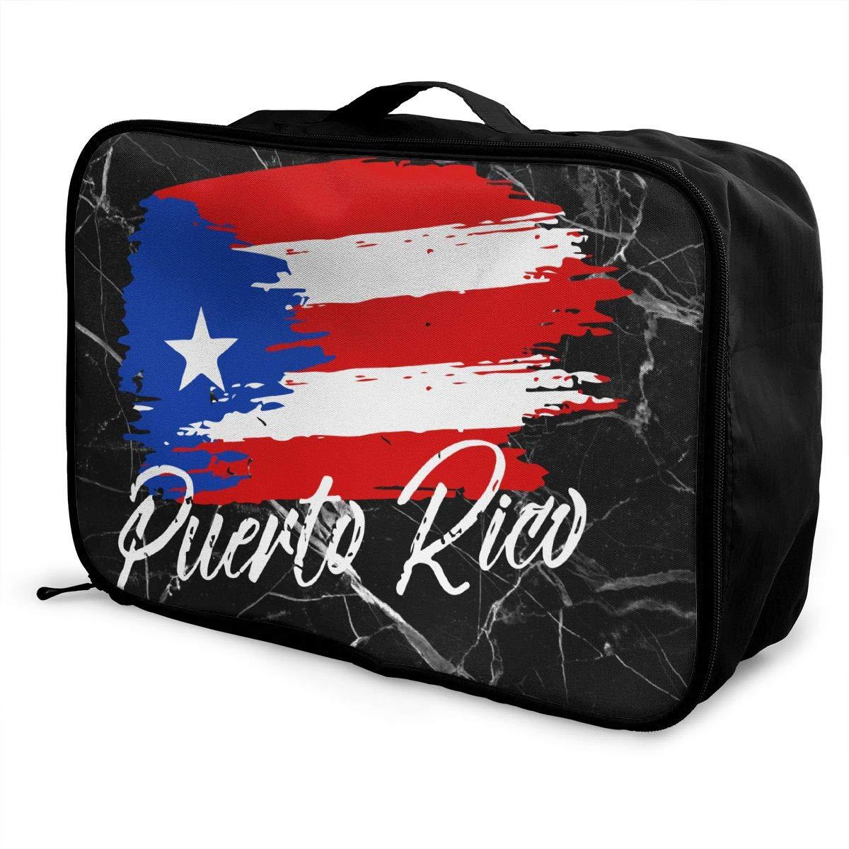 Puerto Rican Flag Grunge Design Luggage Bag Capacity Portable Large Travel Duffel Bag Makeup Storage