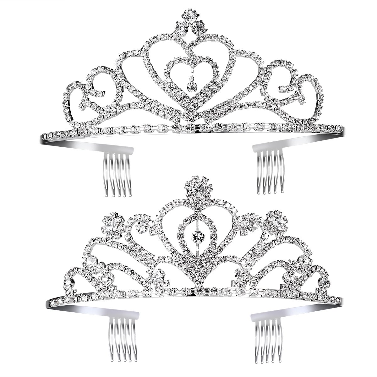 Princess Tiara Crown with Comb Wedding Party Children Flower Tiara Crown for Kids , 2 Pack