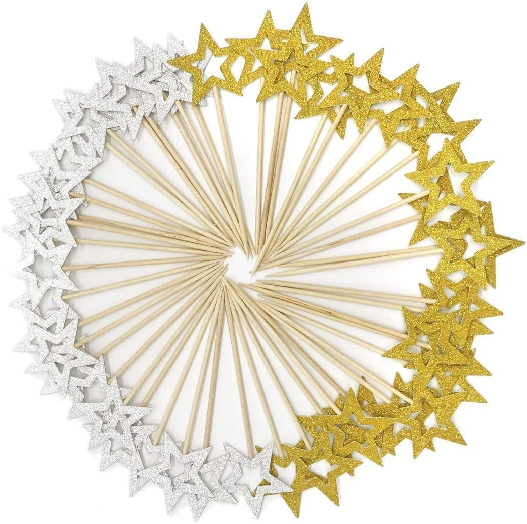 BQSHOP 50 Pcs Gold and Silver Star Cupcake Toppers, Star Cupcake Toppers Twinkle Little Star Decorations Birthday Cupcake Toppers Glitter Star Cake Decorations for Party Birthday Wedding Ceremony