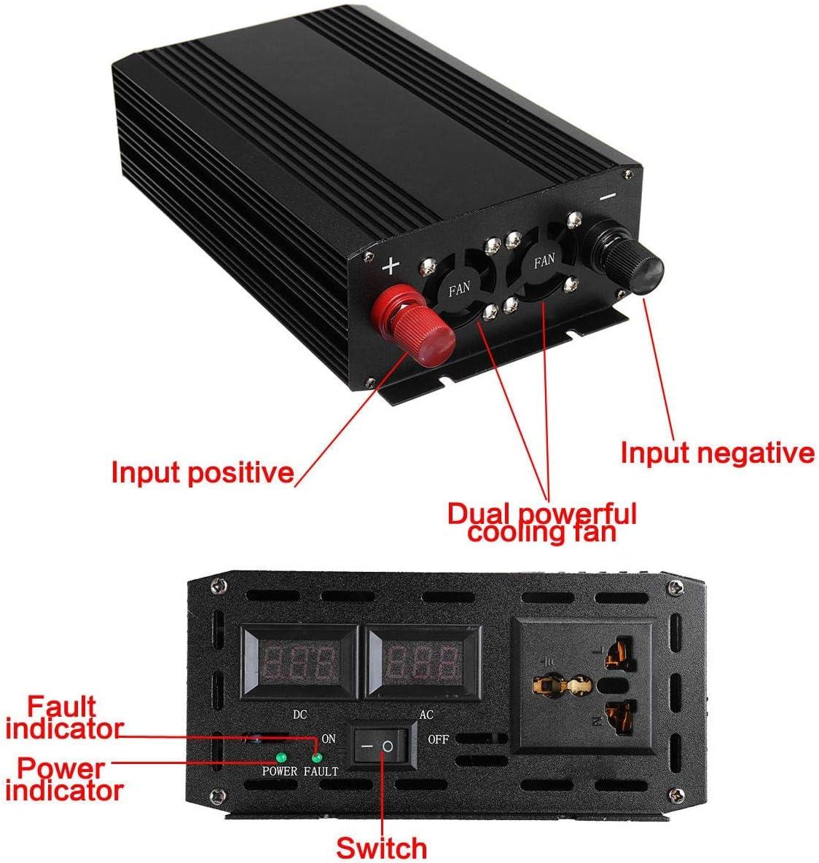 Low Noise Car Inverter,Car Pure Sine Wave Inverter DC 12V-110V 3000W 60Hz Aluminum Alloy Case Low Interference