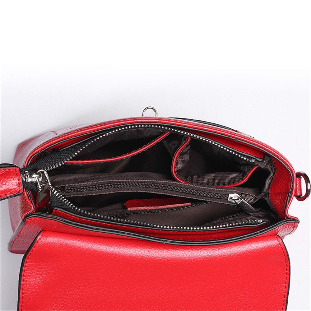 Sunmiao Simple Retro Lock Limousine Grain Square Leather Shoulder Bag Messenger Bag Red