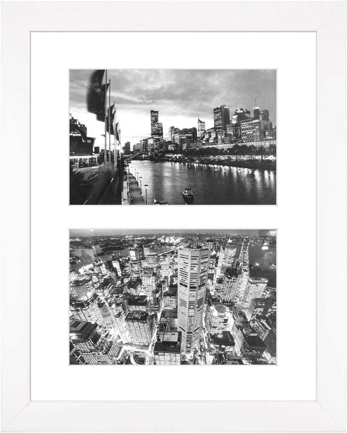 Two Tone Silver Multi Aperture Photo Picture Frame 10x20 Holds 5x7 Photos