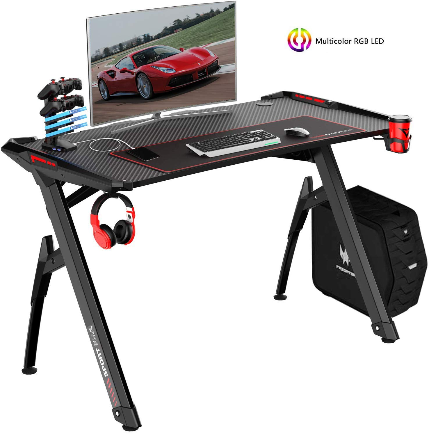 VIT 47 Inch Ergonomic Gaming Desk with RGB LED Lights, Y-Shaped Office PC Computer Desk with Large Mouse Pad, Gamer Tables Pro with USB Gaming Handle Rack, Stand Cup Holder Headphone Hook 47 in BLK