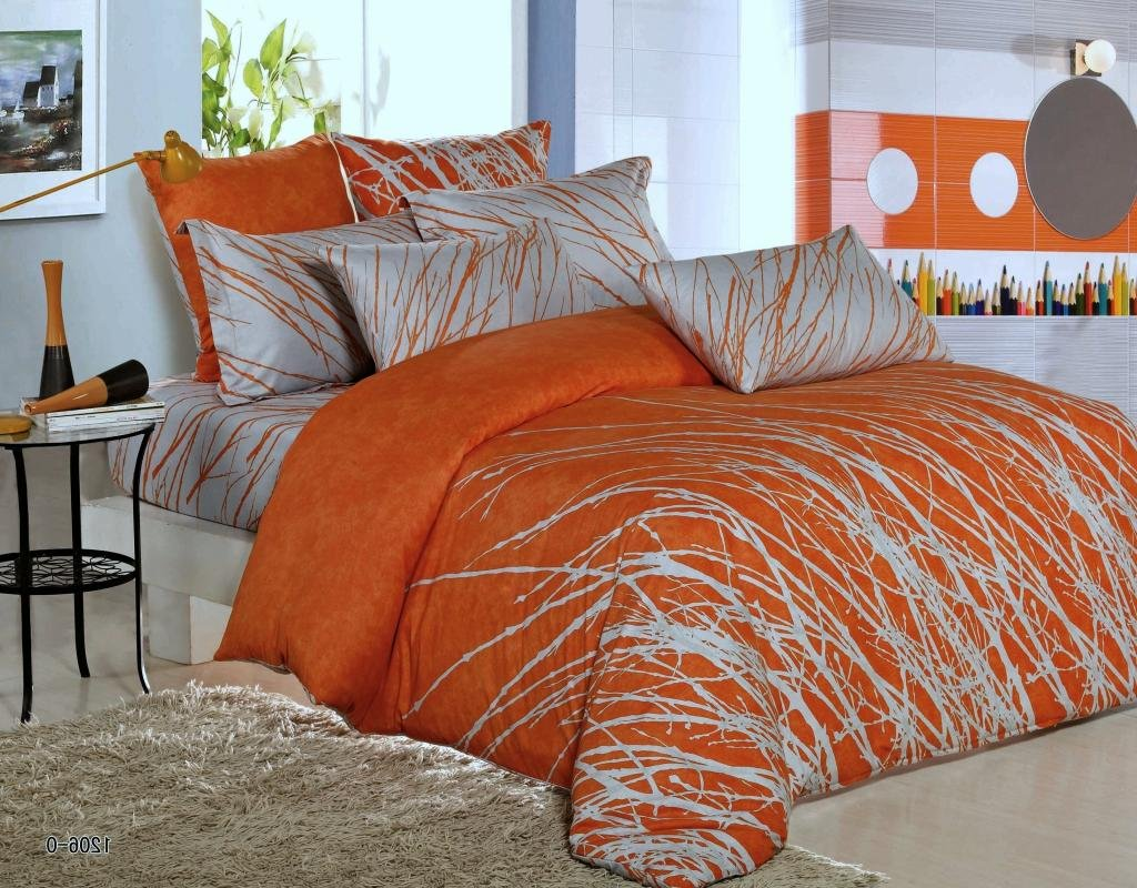 3pc Tree Duvet Cover Set: Duvet Cover and Pillow Shams Orange-Grey, Queen