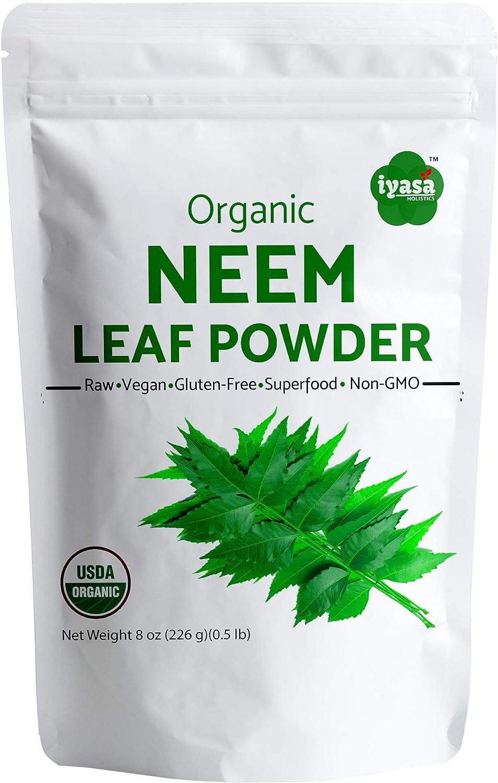 USDA Organic Neem Leaf Powder, Trial Pack of 8oz /223 Gm, Azadirachta Indica, Ayurveda herb, Resealable Pouch