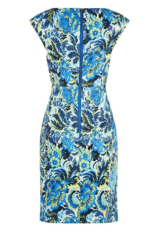 Darling Women's Floral Print Skyla Dress, Navy/Chartruese