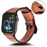 KADES Replacement Band Compatible for Apple Watch Series 4 44mm & Series 3/2/1 42mm [Retro Top Grain Genuine Leather]- Dark Brown Band + Black Hardware