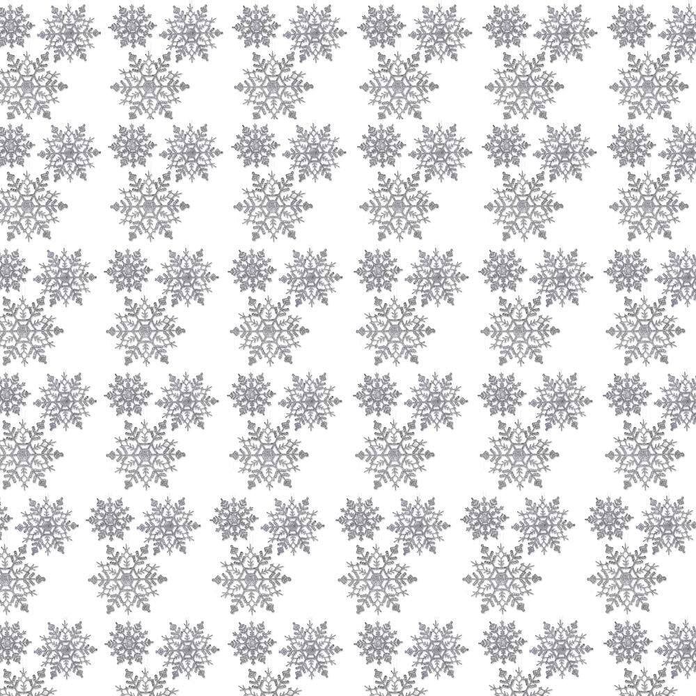 Banberry Designs Silver Glitter Snowflake Christmas Ornaments Set Of 72 Silver Glitter Snowflakes 24 Pcs Each Of 4 5 And 6 D Home Kitchen Amazon Com