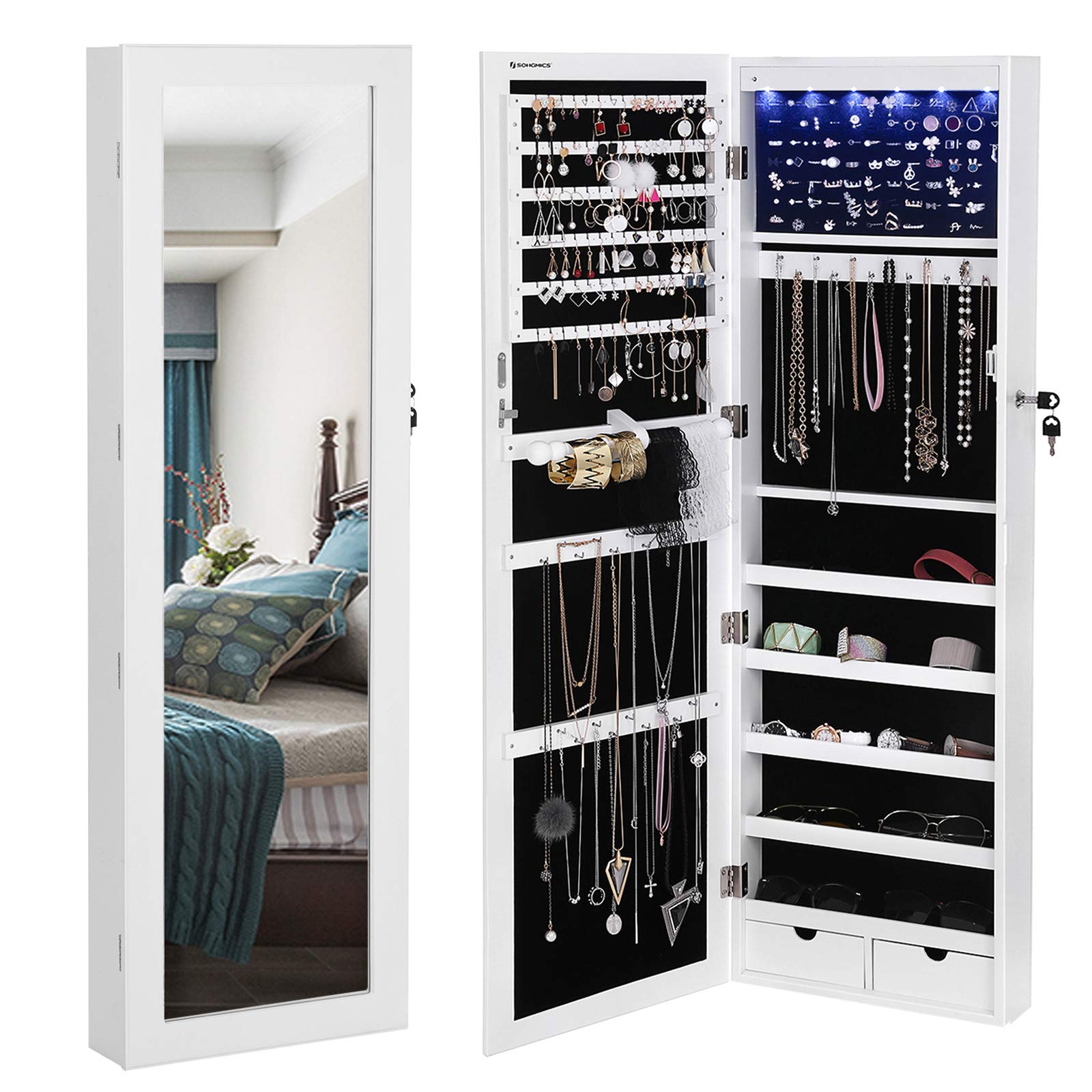 SONGMICS 6 LEDs Mirror Jewelry Cabinet Lockable Wall/Door Mounted Jewelry Armoire Organizer with Mirror, 2 Drawers, Pure White UJJC93W by SONGMICS