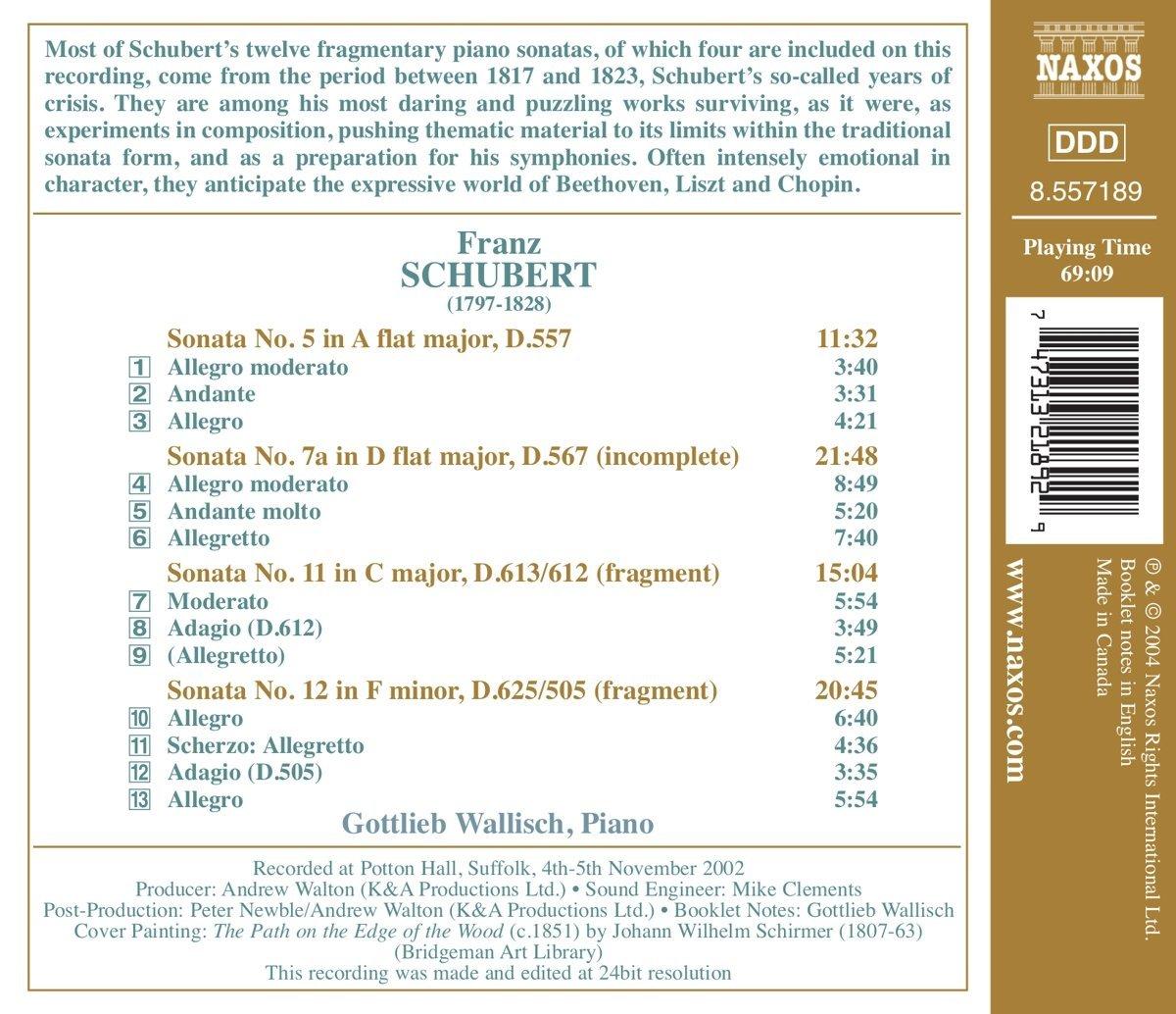 Schubert: Piano Sonatas, Nos  5, 7a, 11 and 12