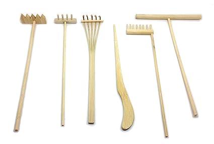 Mini Zen Garden Tool Rake Set 6 Pieces Rakes Drawing Stylus Sand Smoothing Push Rake