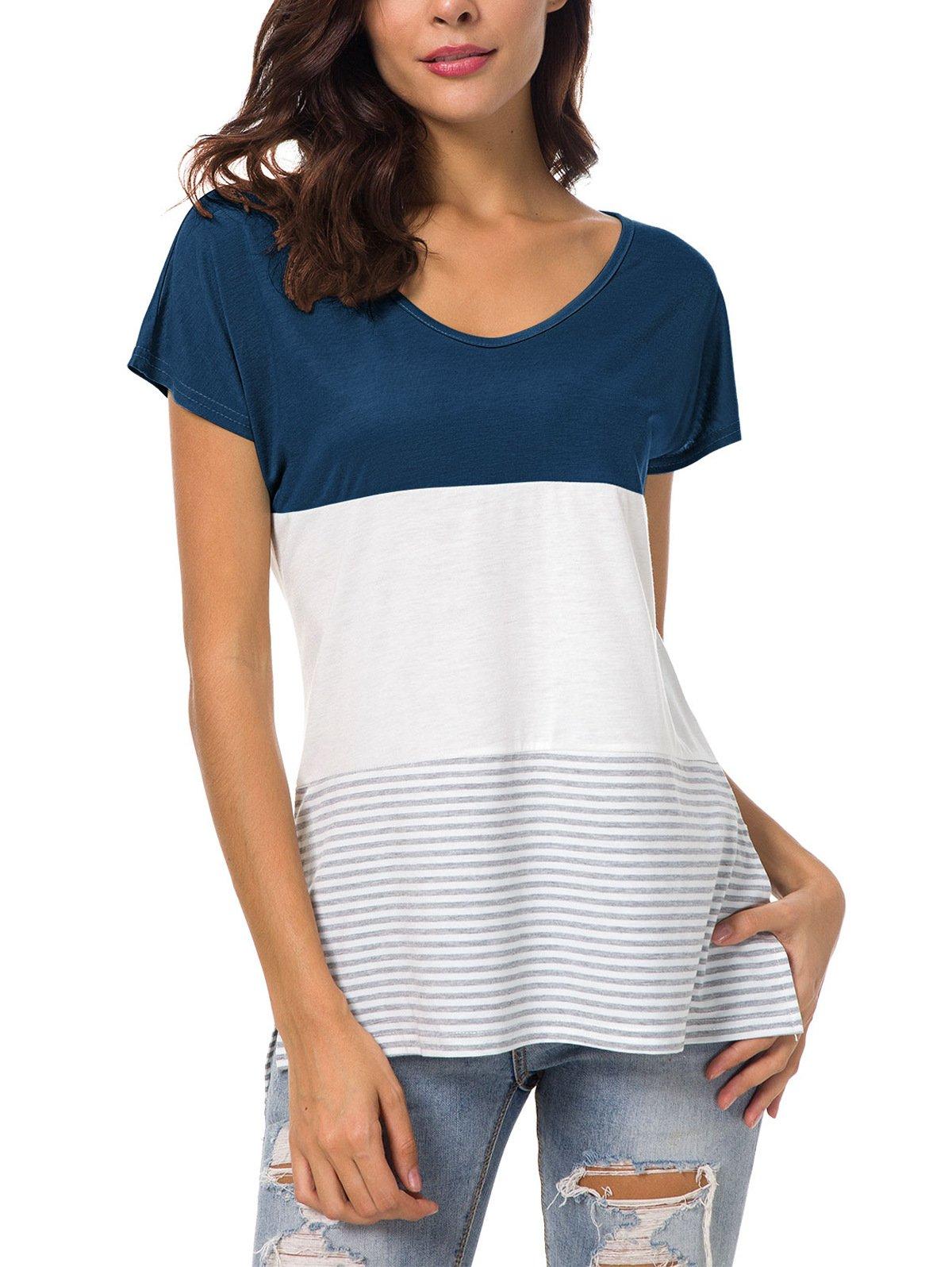 Lanremon Women's Summer V Neck Triple Color Block Striped T-Shirt Side Split Casual Tops Blouse Dark Blue L