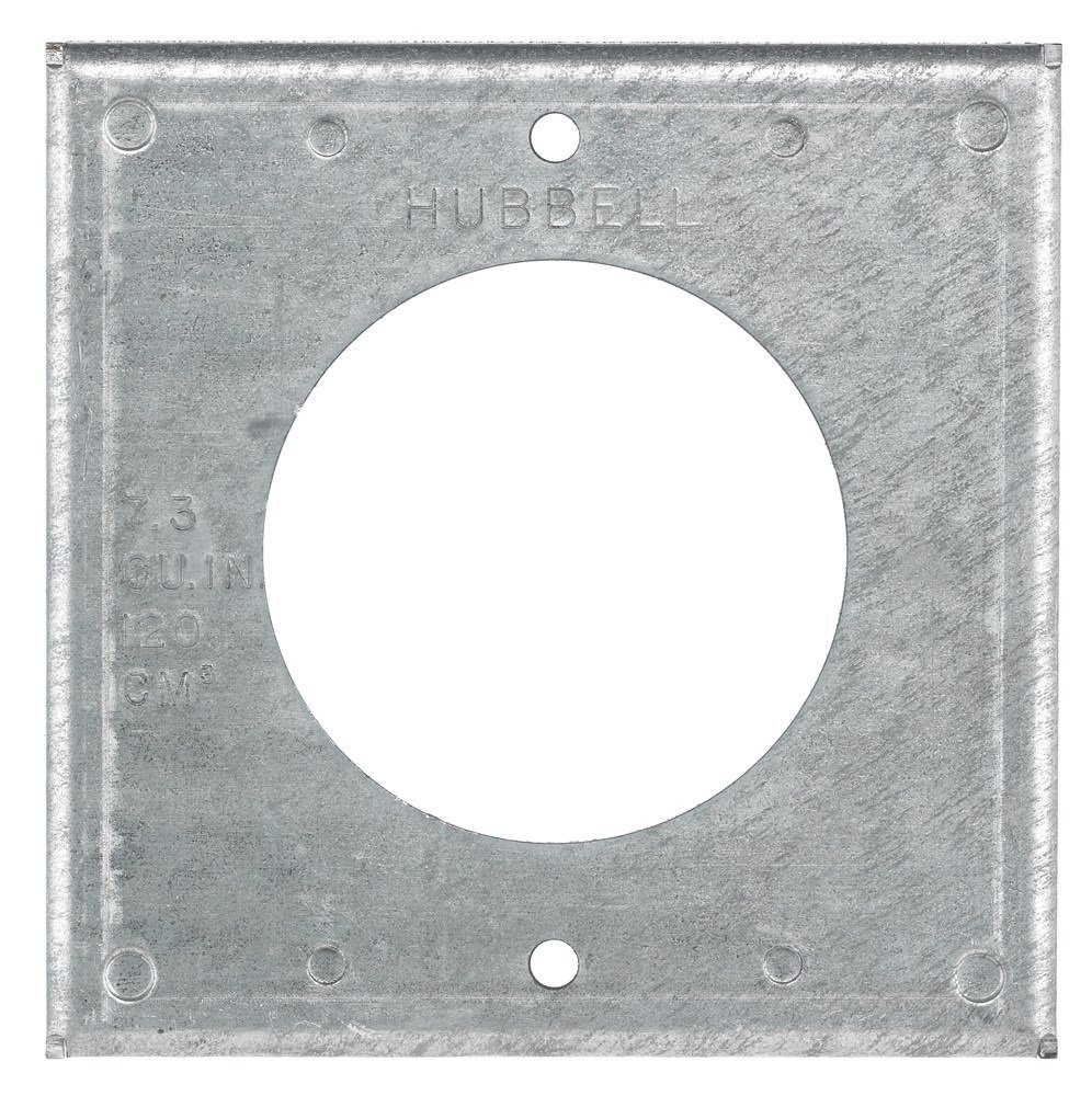 Hubbell Wiring Systems HBL50SC Twist-Lock Galvanized Steel FS/FD Box Mounting Single Receptacle Weatherproof Wall Plate Cover, 2 Gang, 50 Amp, 4'' Width x 4'' Height