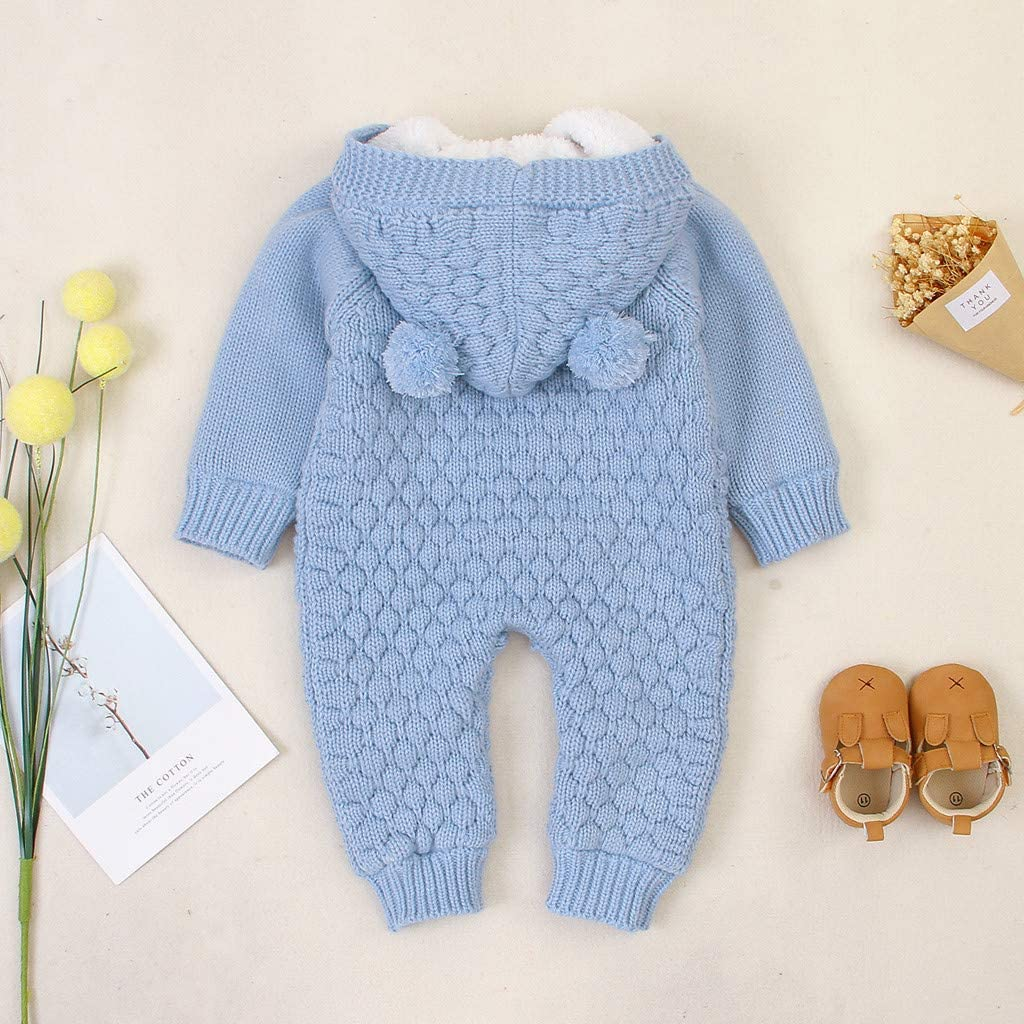 Baby Boys Girls Unisex Plus Velvet Winter Warm Coat Knit Outwear Outfits Long Sleeve Simple for Casual Weilov Baby Hooded Jumpsuit