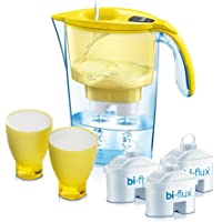 LAICA J947Y Jarra filtrante + 2 vasos + 3 filtros bi-flux. Llenado rapido, 2.3 litros, Transparente, Amarillo