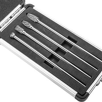 "6/"" Long Reach Rotary Burr 4pc Set Double Cut Tungsten Carbide Bit 1//4/"" Shank"