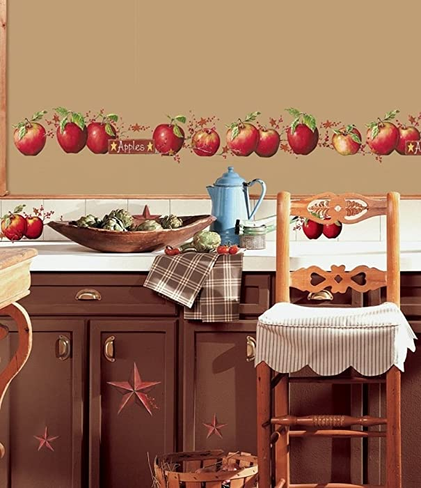 Lunarland Apples 40 BiG Wall Decals Country Stars Border Kitchen Stickers Room Decor NEW