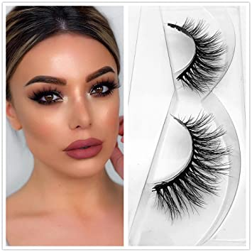 750341728bb Amazon.com : D102 Eyelashes Pair Reused Short Mink 3D Strip Lashes 100%  Siberian Fur Fake Eyelashes Hand-made False Eyelash 1 Pair Package Miss Kiss  : ...