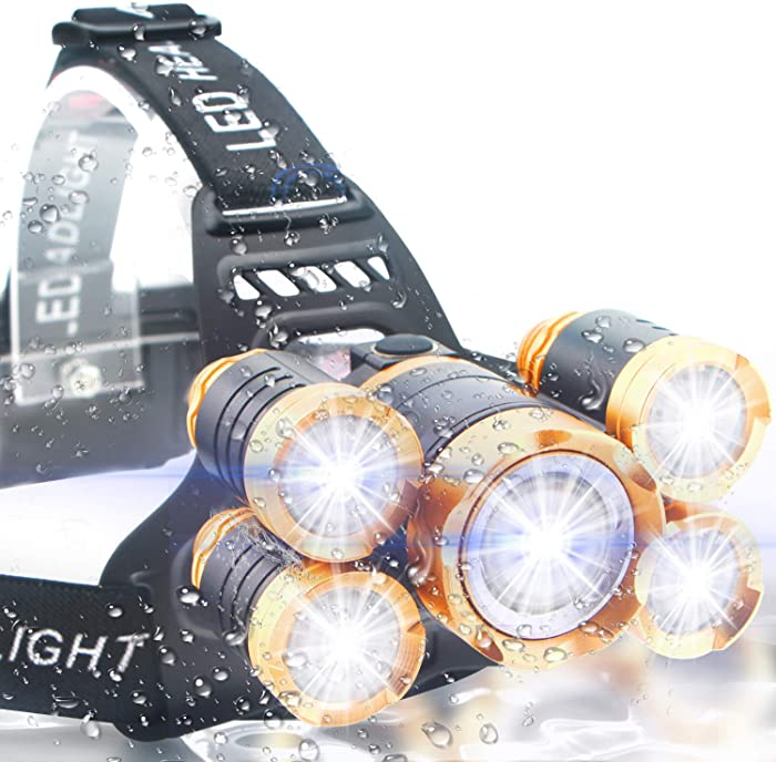 Soft Digits Headlamp, 5 LED Headlight, USB Rechargeable Head Lamp Flashlight, 4 Modes Waterproof Zoomable Light 18650 Battery for Outdoors, Household