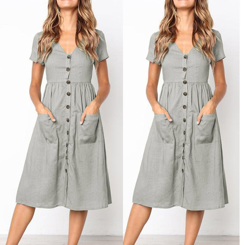 d318a572513de Women s Short Sleeve Casual Button Down Solid Color Loose Swing Dress with  Pockets at Amazon Women s Clothing store