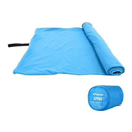 KingCamp Spring 59 degree F /15 degree C Washable Lightweight Comfort Portable Square Polar Fleece Sleeping Bag, Zippered Liner, Fits for Teens and ...