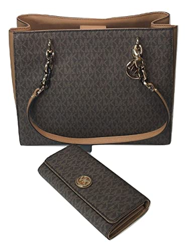 bc86dc5a545f6e Amazon.com: MICHAEL Michael Kors Sofia Large Shoulder Tote bundled with Michael  Kors Fulton Flap Continental Wallet (Signature MK Brown/Acorn): Shoes