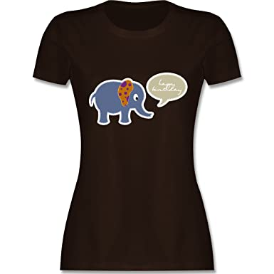 Geburtstag - Elefant Happy Birthday - S - Braun - L191 - Damen T-Shirt
