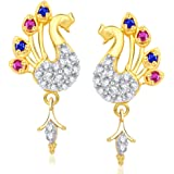 VK Jewels Multi color stones Peacock Gold and Rhodium Plated Alloy Drop Earrings for Women & Girls made with Cubic Zirconia -ER1376G [VKER1376G]