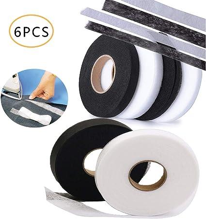 Black and White 6PCS Hem Tape Adhesive,Osuter Fabric Fusing Tape No Sew Hem for Jeans Trousers Garment Clothes