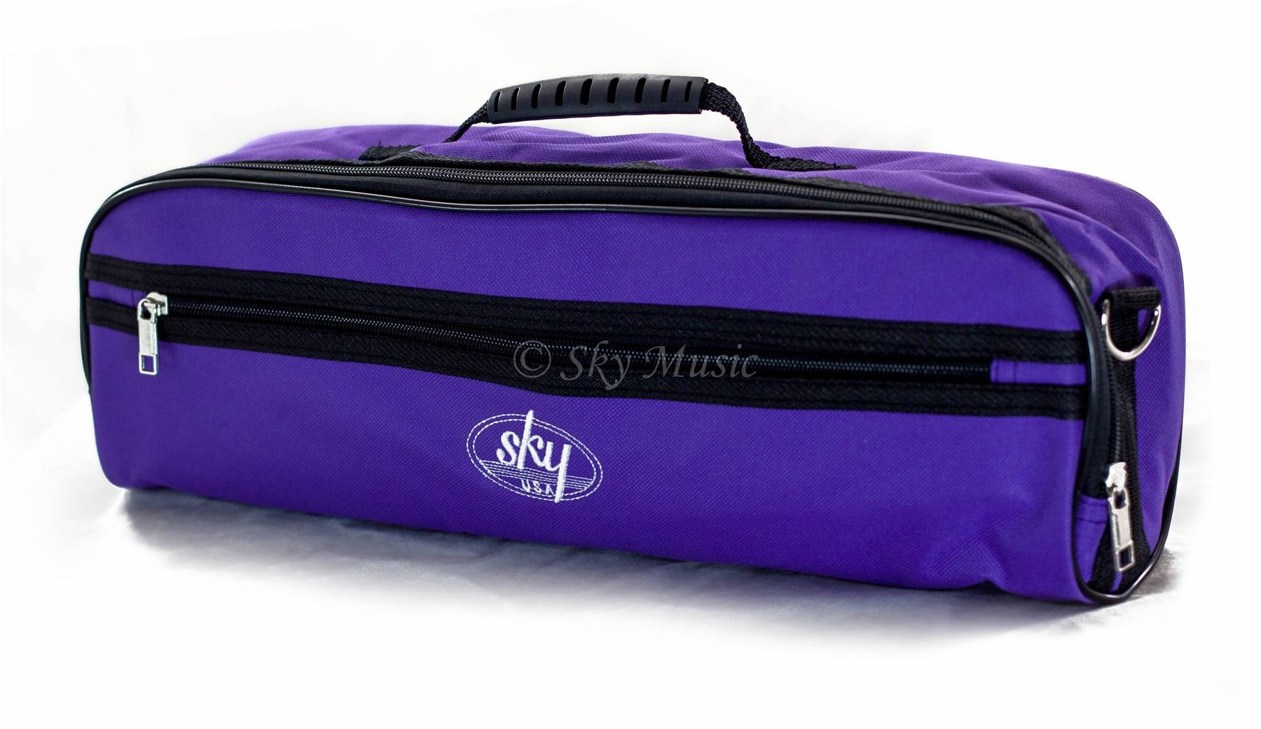 Sky Brand New C Flute Hard Case Cover w Side Pocket/Handle/Strap Purple Color