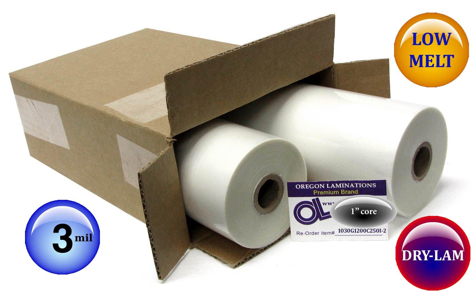 Dry-Lam Trade-Lam Low Melt Laminating Film 12-inch x 250-feet x 1-inch core (4 Rolls) 3.0 Mil Gloss