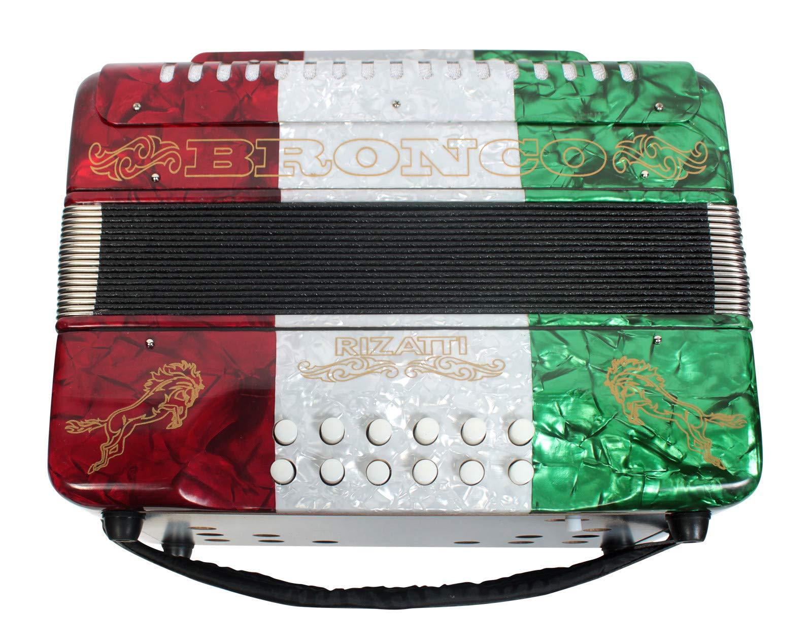 Rizatti Bronco RB31GM Diatonic Accordion - Mexican Flag - Key G/C/F by RIZATTI (Image #3)