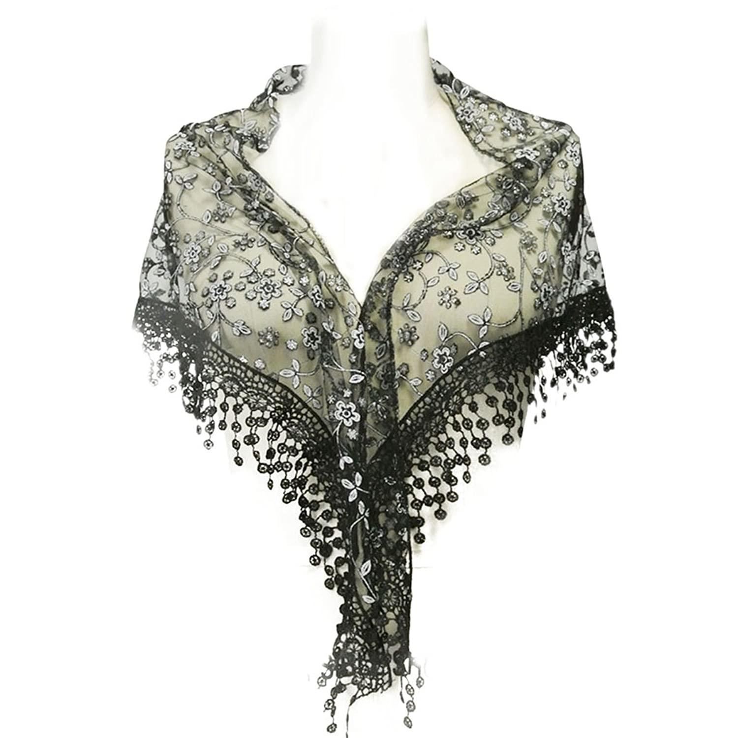 Shawls & Wraps | Vintage Lace & Fur Evening Scarves Wrapables Embroidered Floral Lace Triangle Scarf $10.99 AT vintagedancer.com